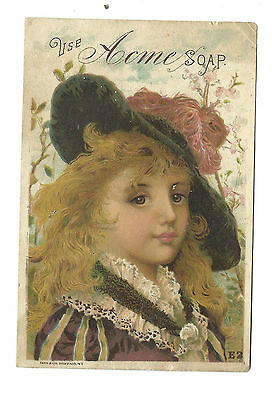 Old Trade Card Acme SOAP Woman Hat Millinery Red Feather