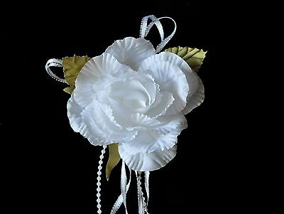 Unotrim Off-White Artificial Rose Corsage Brooch Pin Pearls and Ribbon by Piece
