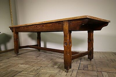 Large Antique Pine Dining Table from Skipton Grammer School.