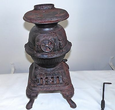 Vintage SPARK Cast Iron Pot Belly Stove Salesman Sample w Tool 14""