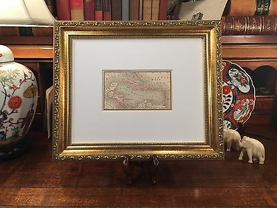 Framed Original 1887 Antique Map WEST INDIES Florida Keys Cuba Jamaica Bahamas
