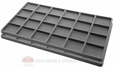2 Gray Insert Tray Liners W/ 24 Compartments Drawer Organizer Jewelry Displays