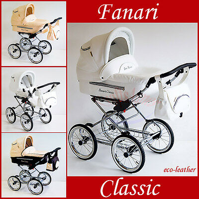 Pram 01 White Leather Baby Retro Classic , Pram , Travel System , Car Seat