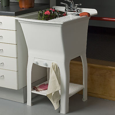 """Fitz Workstation 20.5"""" x 25.75"""" Freestanding Laundry Utility Sink with Faucet"""