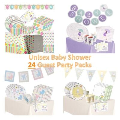 24 Guest Baby Shower Party Packs, Unisex Decorations, Games, Tableware. Neutral