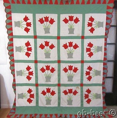 Cottage c 30s Red Green TULIPS Applique Vintage QUILT TOP Coverlet CONES 97 x 84
