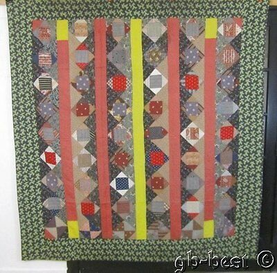 """Wow! TGraphic 1890-1900s Squares Stripes Antique QUILT 84 x 80"""" Red Blue SEAWEED"""