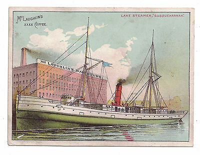 McLaughlin's Coffee Lake Steamer Susquehannah 1889 Trade Card War Ships