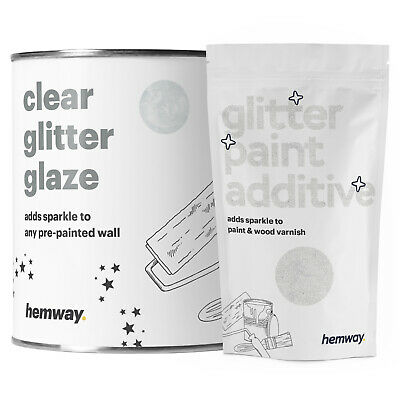 Hemway 1L Clear Glitter Paint Glaze (White) for Pre-Painted Walls DIY UK