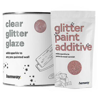 Hemway 1L Clear Glitter Paint Glaze (Rose Gold) for Pre-Painted Walls DIY UK