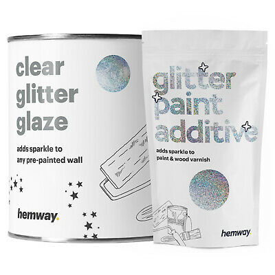 Hemway 1L Clear Glitter Paint Glaze Silver Rainbow Holographic Pre Painted Walls