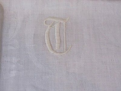 Antique Monogram  Linen Towel PADDED Embroidery