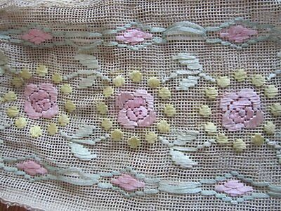 Antique Victorian Ribbon Net Lace Bag Drawstring EARLY