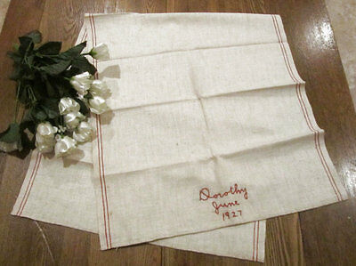 Antique Pennsylvania Redwork Embroidery Show Towel Dated June 1927 Dorothy