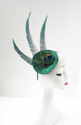 Emerald Green Peacock Feather Fascinator Headband Hat Races Cocktail Vtg 2422