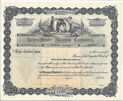Inter-State Mining Company (Montana)......1890's Unissued Stock Certificate