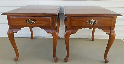 Antique Vintage Queen Anne Solid Wood End Night Side Tables La-Z-Boy Brand