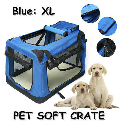 XL SIZE BLUE Pet Dog Soft Fabric Carrier Crate Portable Kennel Foldable Cage Bag