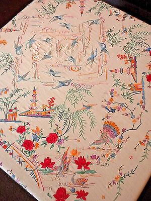 THE BIGGEST & BEST Antique / Vintage CHINESE Hand Embroidered Silk PIANO SHAWL