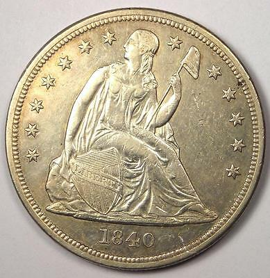 1840 Seated Liberty Silver Dollar $1 - AU Details - Rare Date - Scarce Coin!