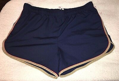 Vtg 80's Men's Jantzen Blue Cotton Shorts / Swim Trunks SZ 38 White Mesh Lined
