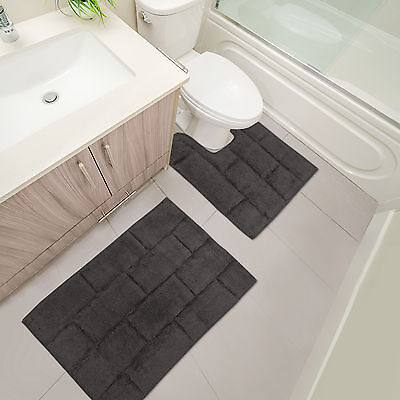 Soft & Plush Tile Bathroom Mats - 2 Piece Washable Bath & Pedestal Mat - Grey
