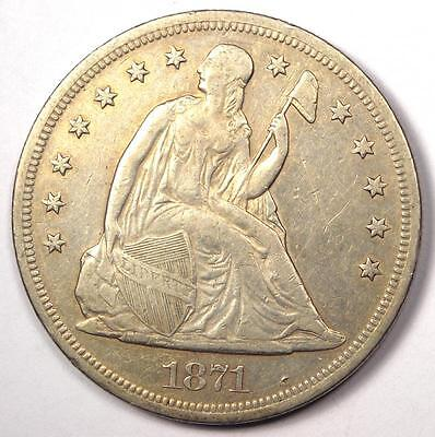 1871 Seated Liberty Silver Dollar $1 - XF Details - Rare Early Type Coin!