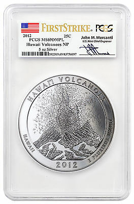 2012 Hawaii Volcanoes 5 oz Silver ATB PCGS MS69 DMPL FS Mercanti Signed SKU46285