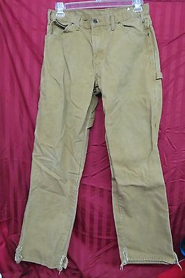Mens Dickies Heavy Canvas Carpenter Work Pants In Brown Size 33 X 32