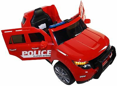 2017 Ford Explorer Police Battery Powered Electric Ride On Kids Toy Car RC Red