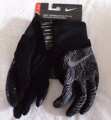 Women's Size Sm Or Med  Nike Therma-Fit Elite 2.0 Run Gloves Black/gray Nwt