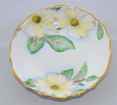 1- Dogwood Trinket/ Pin Dish by Tuscan - Royal Tuscan  Scalloped, White/Yellow F