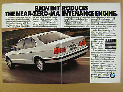 1991 BMW 5-Series 525i sedan M50 Engine white car photo vintage print Ad