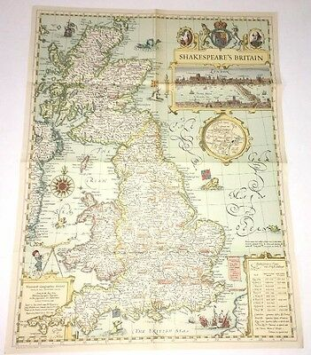 VINTAGE SHAKESPEARE'S BRITAIN UK  WALL MAP ORIGINAL National Geographic  1964