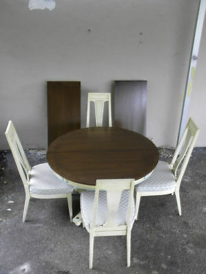 French Painted Dining Table with 4 Chairs and 2 Leaves  1190