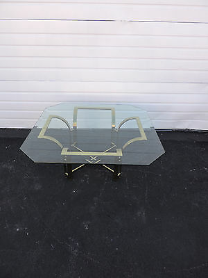 Mid-Century Hollywood Regency Brass Glass-Top Coffee Table 6601