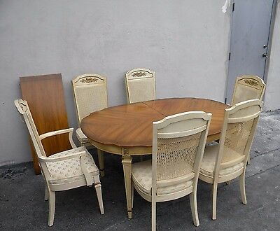 French Painted Dining Table with 6 Caned Chairs & 1 Leaf by Hibriten 3538