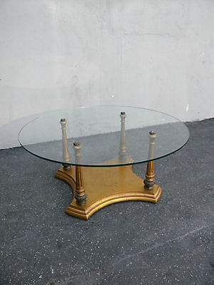 Round Vintage Mid-Century Glass Top Coffee Table 3561
