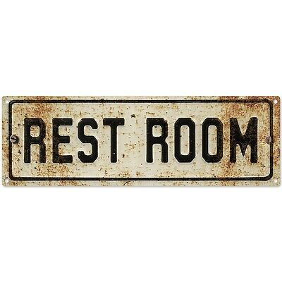 Restroom Embossed Look Rusted Metal Sign Vintage-Style Bathroom Decor 18 x 6