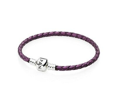 Purple GENUINE LEATHER BRAIDED CHARM BRACELET FOR BEADS19CM