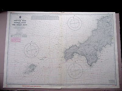 """1969 TREVOSE HEAD to DODMAN POINT & SCILLY ISLES Nautical Map 28"""" x 41"""" A86"""