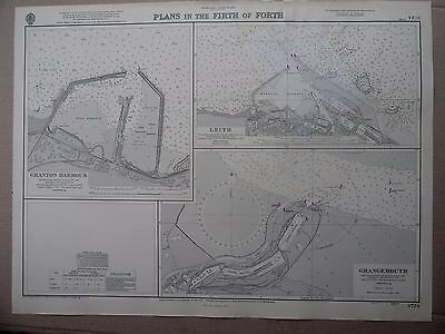 """1963 Firth of Forth GRANGEMOUTH LEITH GRANTON HARBOUR Sea Chart 28"""" x 20½"""" A63"""