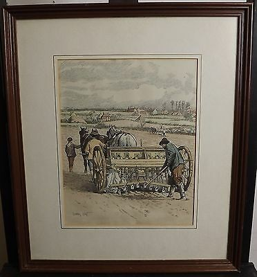 Antique Framed Hand-Coloured Gunning King Farming Print Of A Horse-Drawn Plough