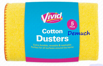 New 6 Pack Large Jumbo Yellow Duster Pure Cotton Polishing Cloth Clean Dusters ✔