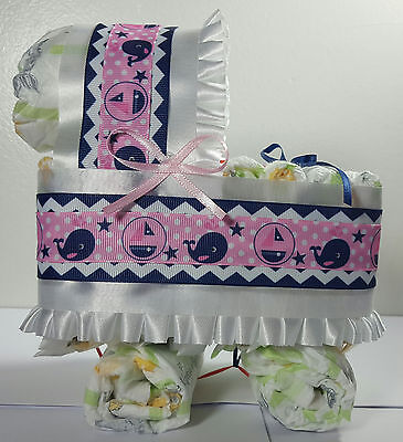 Diaper Cake Bassinet Carriage Baby Shower Gift - Pink, Navy Blue - Whale Theme