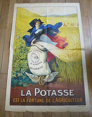 AUZOLLE ancienne affiche LA POTASSE MULHOUSE Alsacienne
