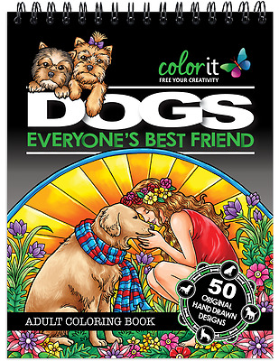 ColorIt - Dogs Adult Coloring Book Stress Relief SPIRAL-BOUND HARDBACK NEW