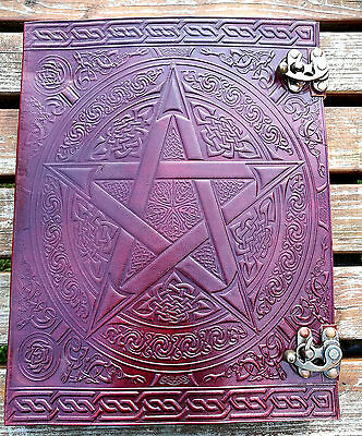 "XXL Pentagram and Celtic leather journal , book of shadows, Wicca Pagan 13""x10"""