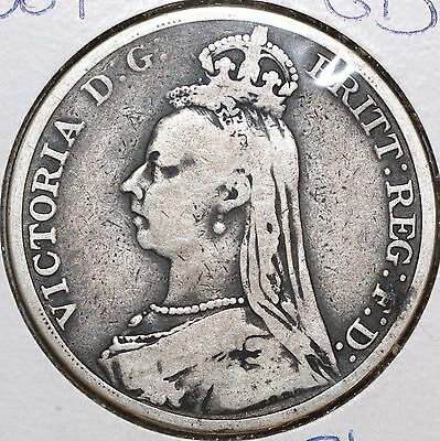 1889 Great Britain UK English Crown Queen Victoria KM# 765 Silver Coin .84 ASW