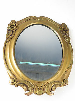 Antique Art Deco Mirror Gold Paint Hand Carved Wood FABULOUS